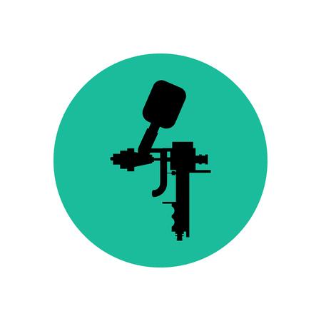 Airbrush illustration silhouette on the green background. Vector illustration