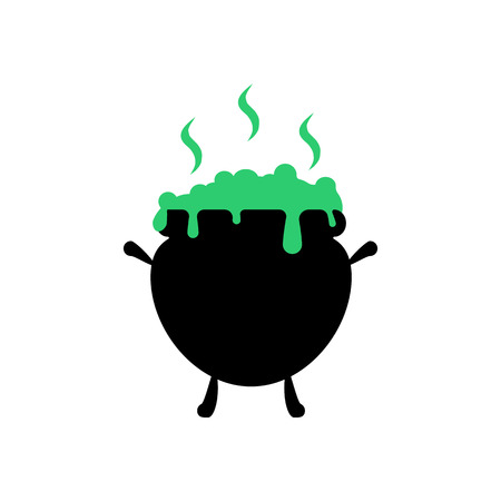 spells: Witch cauldron illustration on the white background. Vector illustration