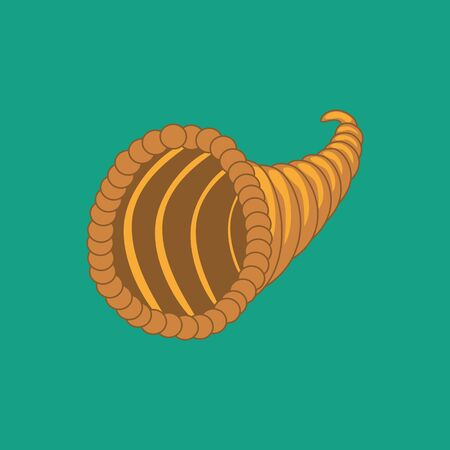 Horn of plenty on the green background. Vector illustration