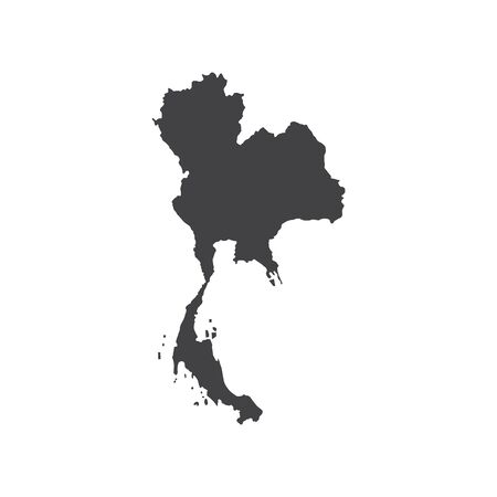 Kingdom of Thailand map silhouette. Vector illustration