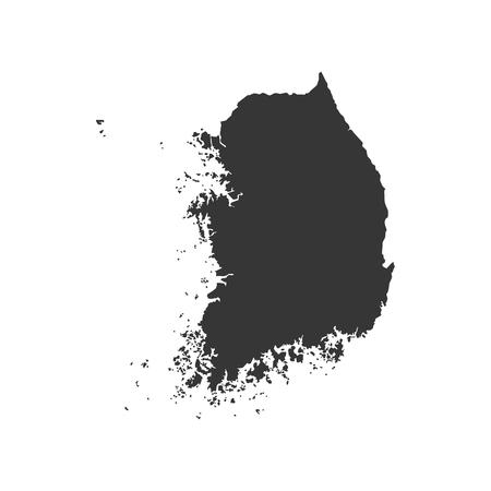 republic of korea: Republic of Korea map silhouette on the white background. Vector illustration Illustration