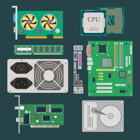 Teile des Computers. Grafikkarte, CPU, Festplatte, RAM, Ethernet-Karte, Netzteil auf dem dunkelgrünen Hintergrund. Vektor-Illustration