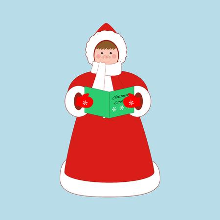 carols: Christmas carols singer on the blue background. Vector illustration