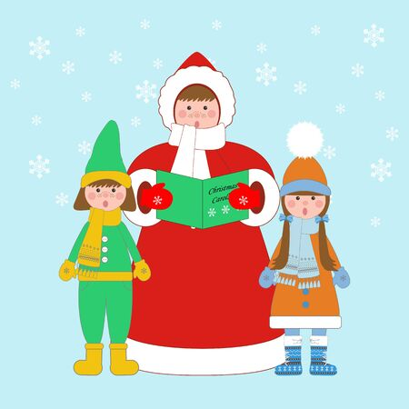 caroling: Christmas carols singers on the blue background. Vector illustration