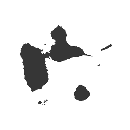 guadeloupe: Guadeloupe map silhouette on the white background. Vector illustration