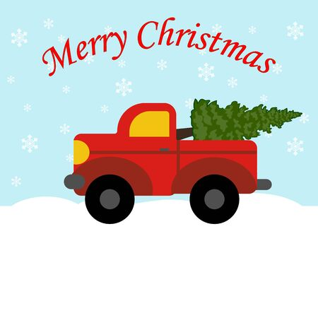 Red truck with christmas tree. Christmas decoration. Vector illustration
