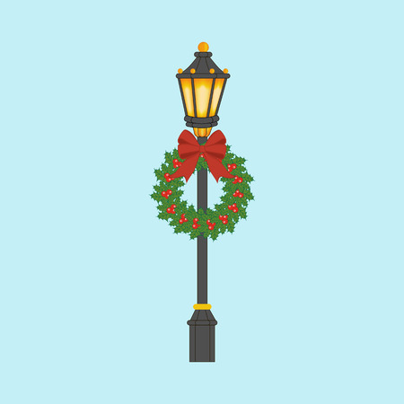 Street light with christmas wreath. Street lantern with christmas decoration. Vector illustration