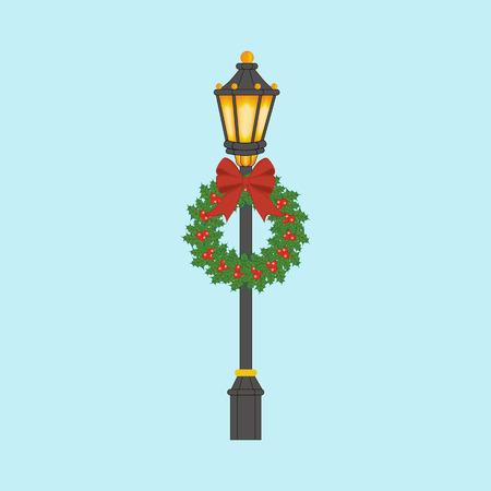 Straatlantaarn met Kerstmiskroon. Straatlantaarn met Kerstmisdecoratie. Vector illustratie