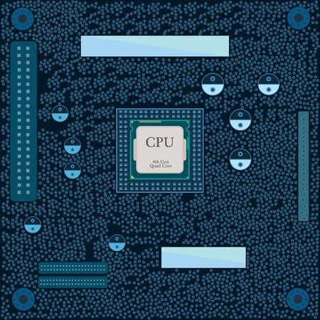 computer part: Motherboard CPU illustration. Computer part. Vector illustration