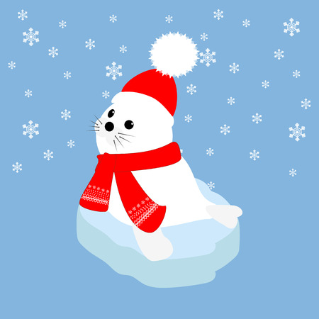 floe: Seal baby in hat and scarf on an ice floe. Vector illustration
