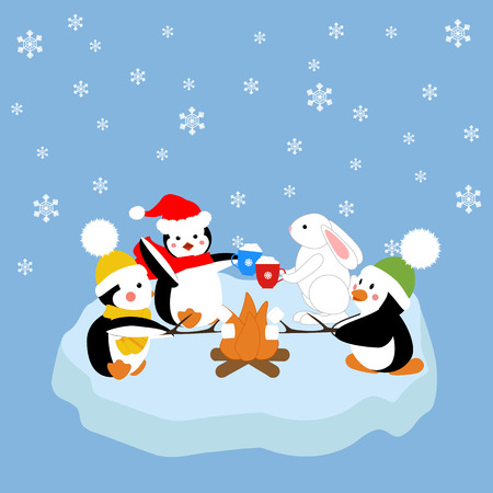 fire and ice: Penguins and white rabbit fried marshmelou on an ice floe. Vector illustration Illustration