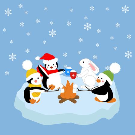 floe: Penguins and white rabbit fried marshmelou on an ice floe. Vector illustration Illustration