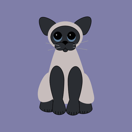 Blue eyed cat on the purple background. Vector illustration