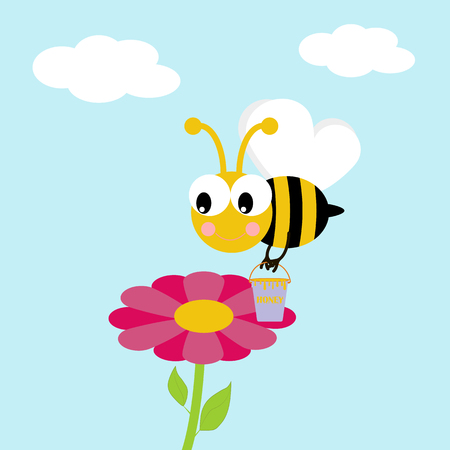 Working bee illustration. Bee with bucket of honey flying around the flower. Vector illustration Illustration
