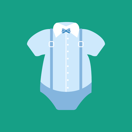 romper: Baby boy bodysuit with collar and the bow tie. Vector illustration Illustration