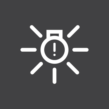 Vector illustration of a sign on the car dashboard on a gray background. The icon indicates malfunction of external illumination. Design of button