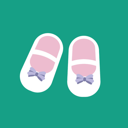 cute baby girls: Baby girl shoes on the green background. Vector illustration Illustration