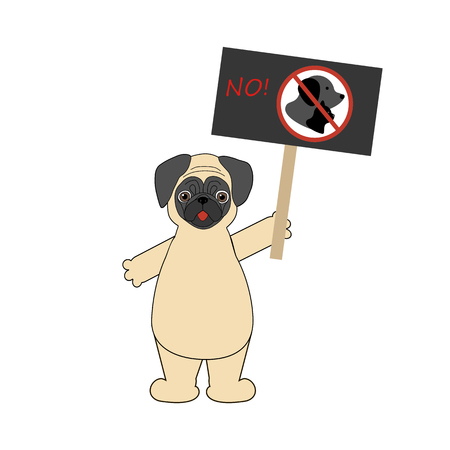 Dog on demonstration. Pug with transparency. No dog and cat entry Illustration