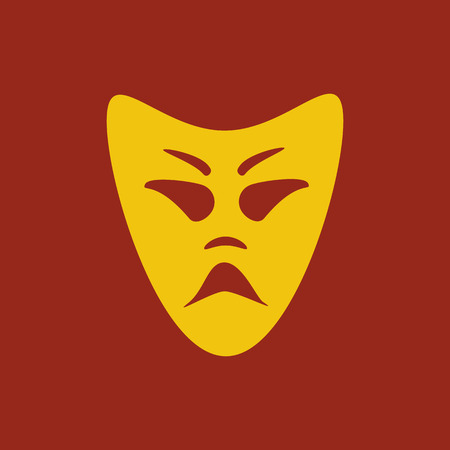 theatrical performance: Evil mask illustration on the red background. Vector illustration