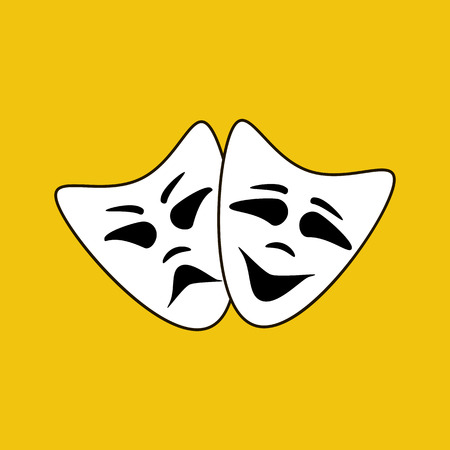 Happy and evil mask on the yellow background. Vector illustration Illustration