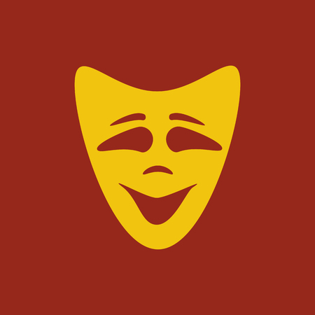 theatrical performance: Happy mask on the red background. Vector illustration
