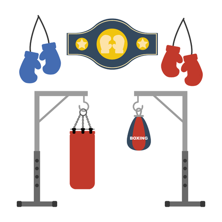 punching: Boxing set on the white background. Vector illustration