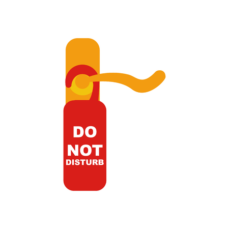 Do not disturb sign and door knob on the white background. Vector illustration