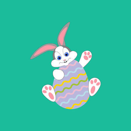 Easter rabbit and egg on the green background. Vector illustration