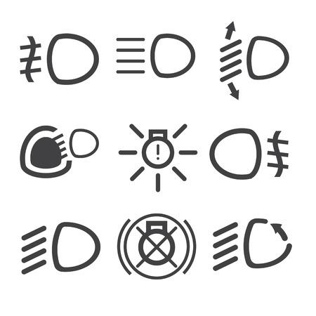 Car light dashboard icons on the white background. Vector illustration Ilustração