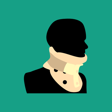 Clamp for the neck on the green background. Vector illustration