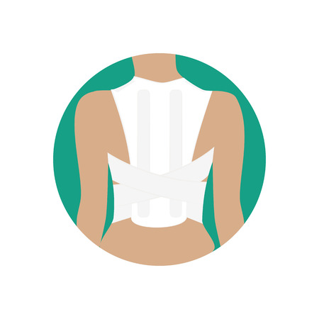 Corset for correction of posture on the green background. Vector illustration