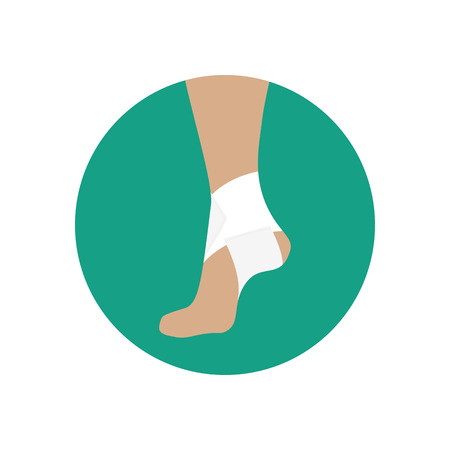 Elastic bandage for the ankle joint on the green background. Vector illustration Illustration