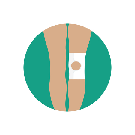 Knee joint bandage with an open cup on the green background. Vector illustration