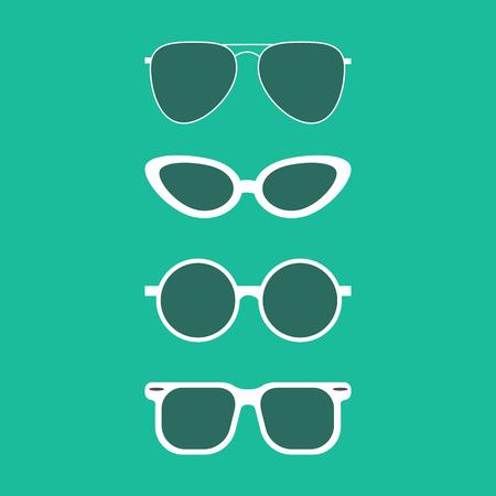 Sunglasses set on the green background. Vector illustration Illustration