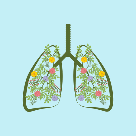 Trees are the lungs of the earth on the blue background. Vector illustration Illustration