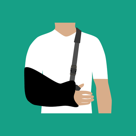 Bandage for the hand on the green background. Vector illustration