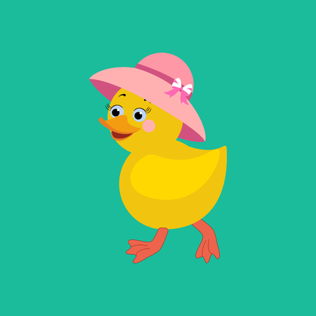 blessed: Chicken in hat on the green background. Vector illustration