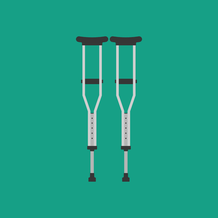 Crutches vector illustration on the green background. Vector illustration