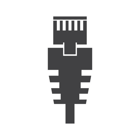cat5: RJ 45 cable on the white background. Vector illustration