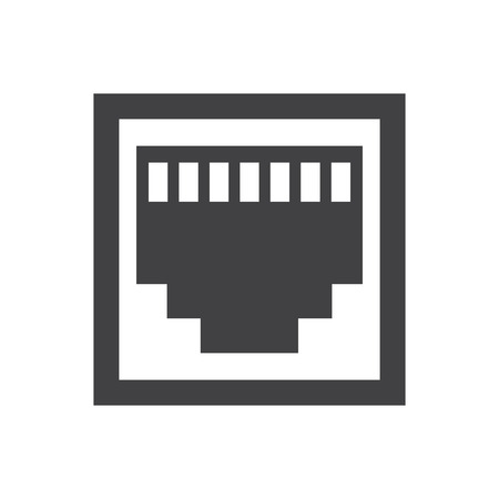 cat5: RJ45 icon on the white background. Vector illustration