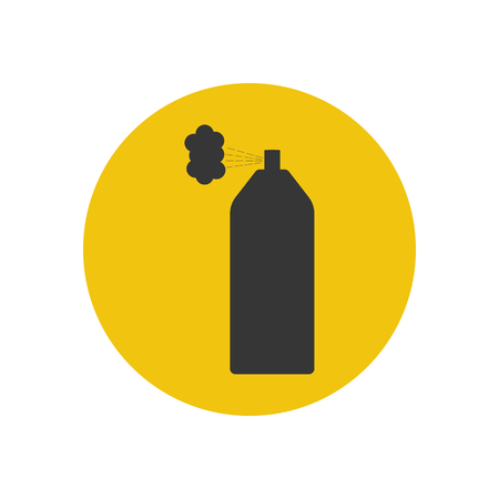 Spray paint can silhouette on the yellow background. Vector illustration