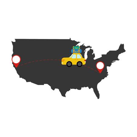 Car travel on the white background. Vector illustration