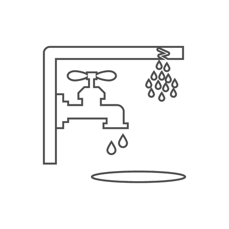 Nonworking water tap on the white background. Vector illustration