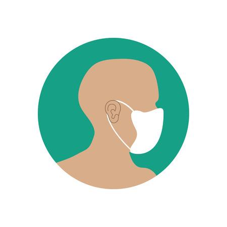 mask face: Medical respirator, immunity mask on the green background. Vector llustration