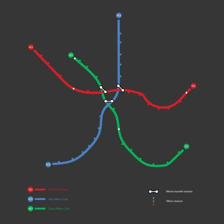 Metro map on the grey background. Vector llustration