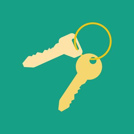 Keys illustration on the green background. Vector llustration