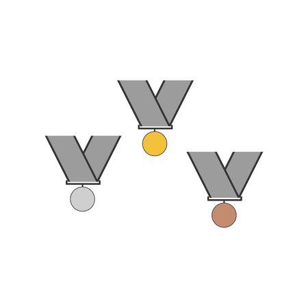 Medals illustration. Gold silver and bronze medals on the white background. Vector llustration Illustration