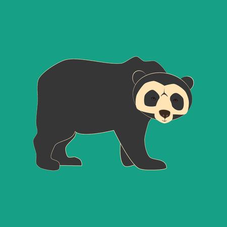 oso perezoso: Ilustración de animal de oso de anteojos en el fondo verde. Ilustración del vector