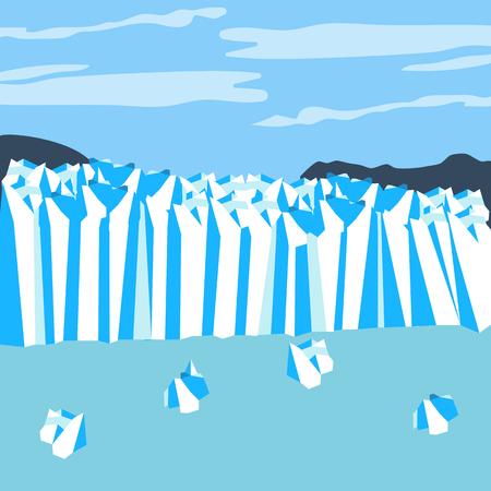 Le glacier Perito Moreno. Glacier d'Argentine. Illustration vectorielle