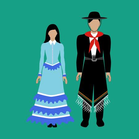 Het nationale kostuum Gaucho van Argentinië op de groene achtergrond. Vector illustratie